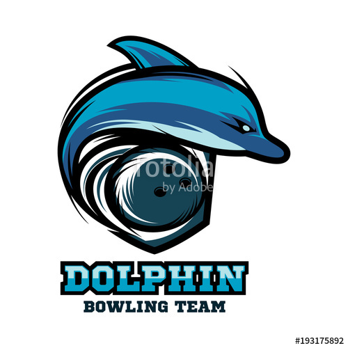 500x500 Dolphin Bowling Logo Vector Stock Image And Royalty Free Vector