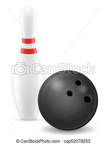 349x470 Bowling Ball And Pin Vector Illustration Isolated On White Background.