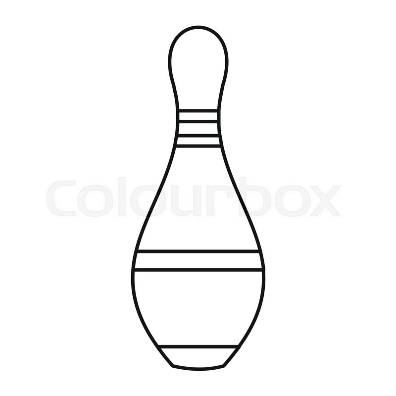 800x800 Bowling Pin Icon In Outline Style Vector Illustration For Design