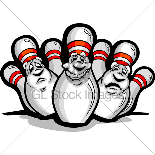 500x500 Happy Cartoon Bowling Pins Vector Illustration Gl Stock Images