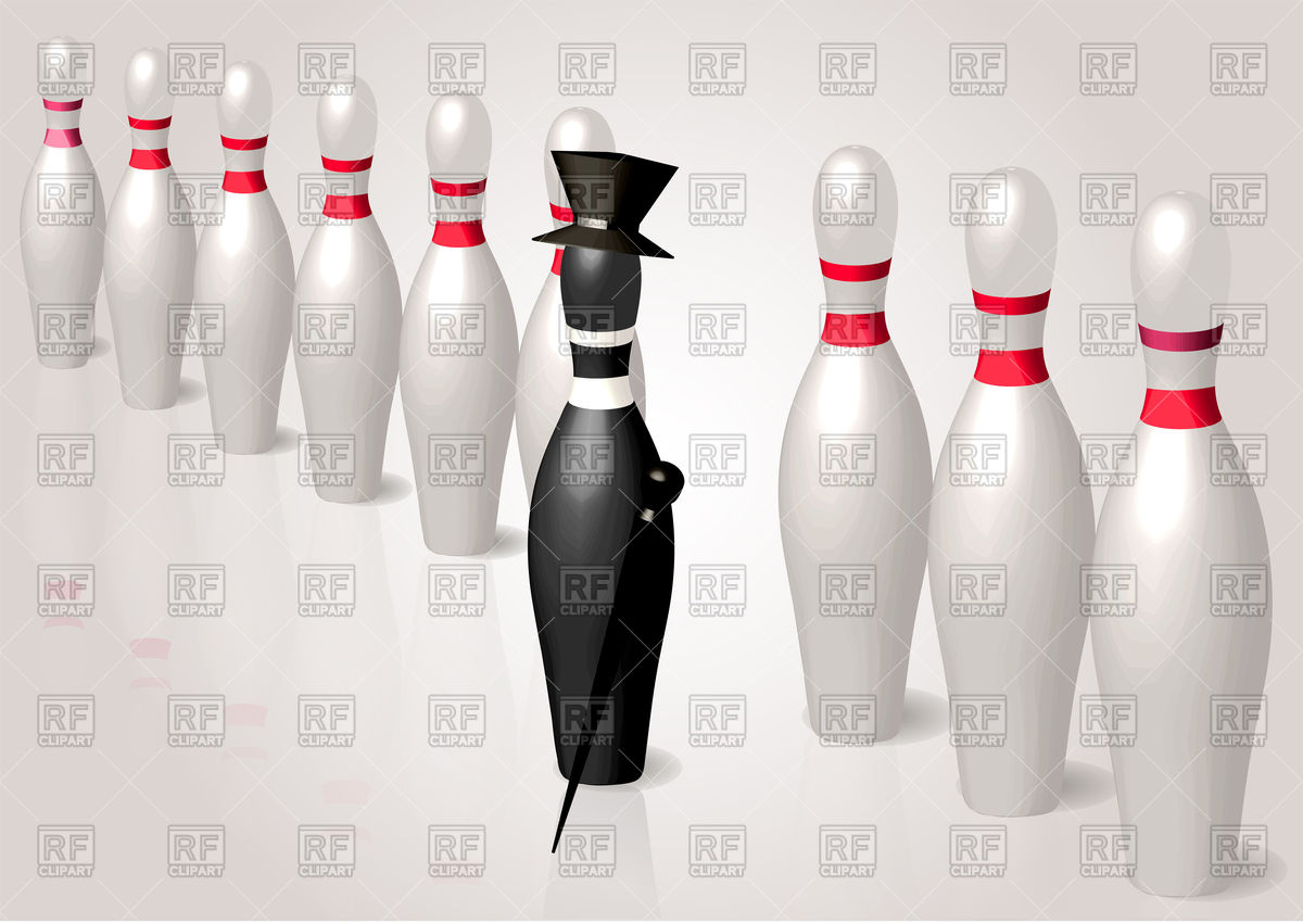 1200x851 Black Bowling Pin With Hat And Stick Leader. Difference Concept