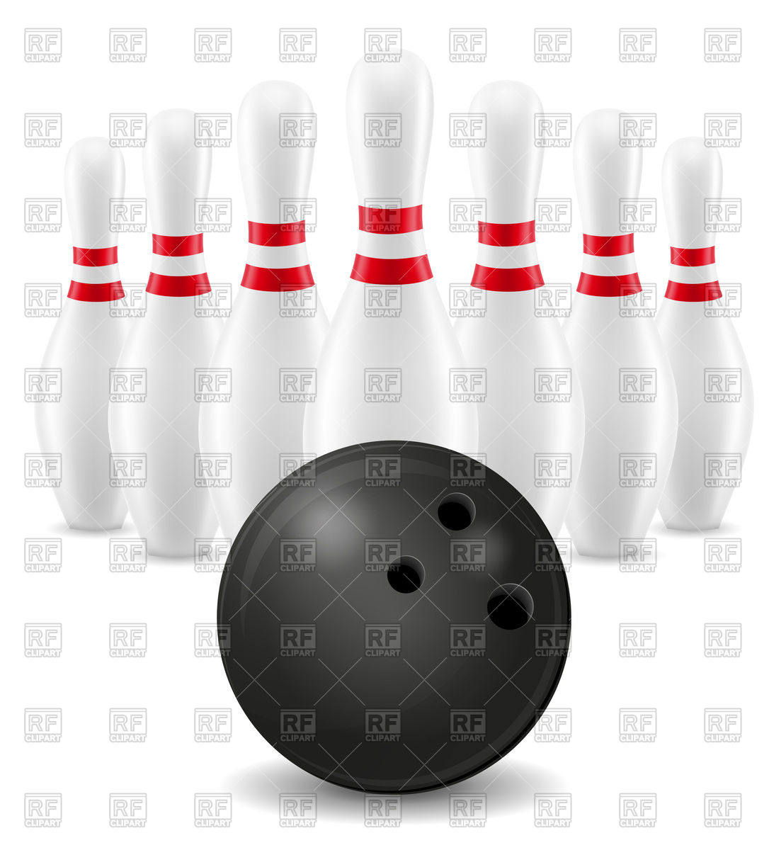 1086x1200 Bowling Ball And Skittles On White Background Vector Image