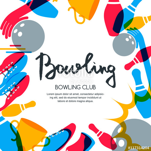 500x500 Vector Bowling Square Banner, Poster Or Flyer Design Template