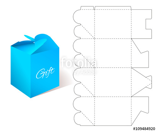 500x420 Gift Paper Box With Blueprint Template. Illustration Of Gift Craft