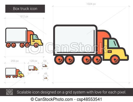 450x344 Box Truck Line Icon. Box Truck Vector Line Icon Isolated On White