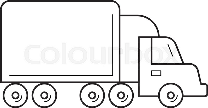 800x418 Box Truck Vector Line Icon Isolated On White Background. Box Truck