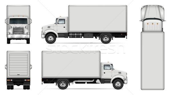 600x336 Box Truck Vector Mockup Vector Illustration Yurischmidt