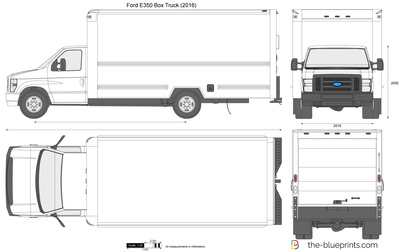 400x252 Ford E350 Box Truck Vector Drawing