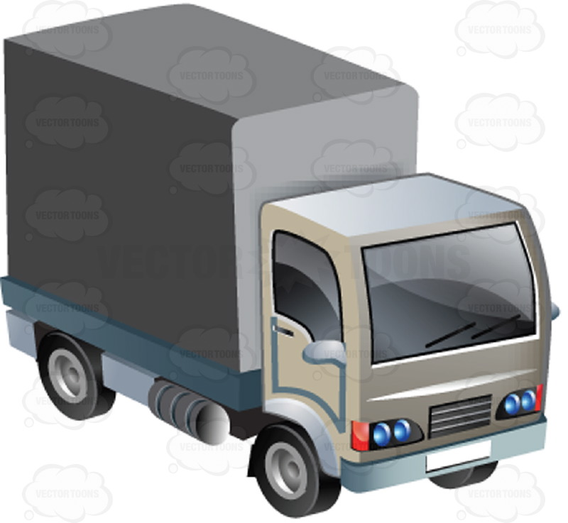 800x737 White Four Wheel Box Truck With Cabin Clipart By Vector Toons