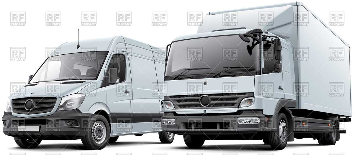 1200x527 White Box Truck And Delivery Goods Van (Lorry), Isolated On White