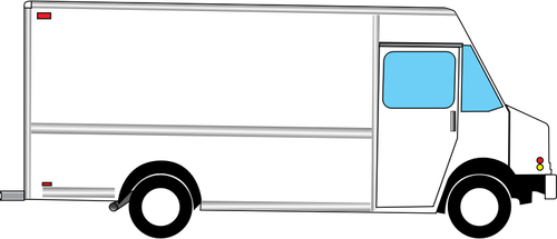 500x215 Vector Illustration Of Box Truck From Side Public Domain Vectors