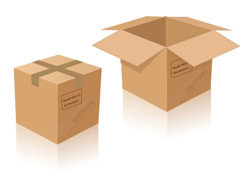 500x353 Free Vector Cardboard Delivery Box