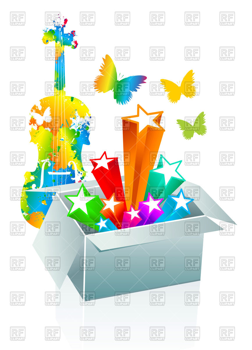866x1200 Entertainment Conception With Open Gift Box Vector Image Vector