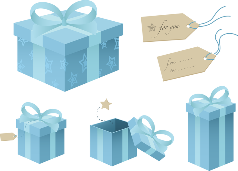 790x570 Free Blue Gift Box Vector Material