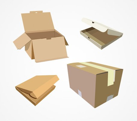 456x400 Free Cardboard Box Vector Set (Free) Clipart And Vector Graphics