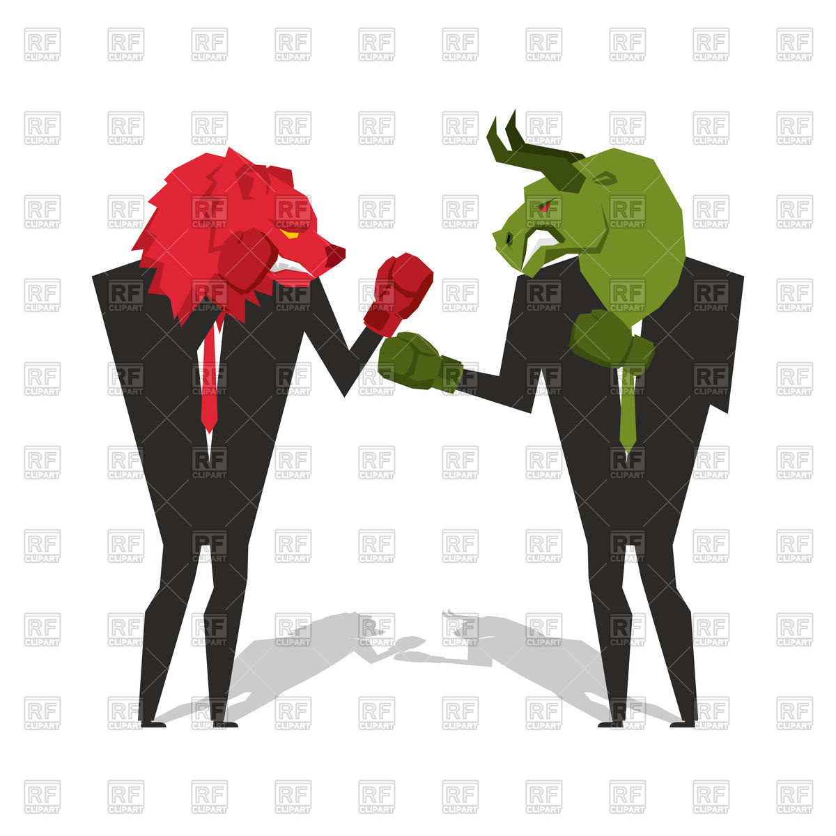 1200x1200 Bear And Bull Are Boxing. Businessmen Combat. Vector Image