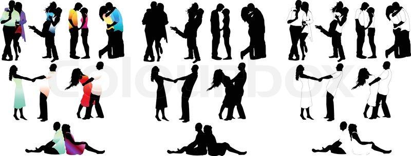 800x305 Set Of Happy Love Couple Silhouettes. Vector Illustration. Boys