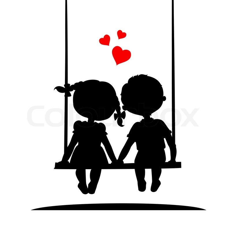 800x800 Silhouettes Of A Boy And A Girl Sitting On A Swing Stock Vector