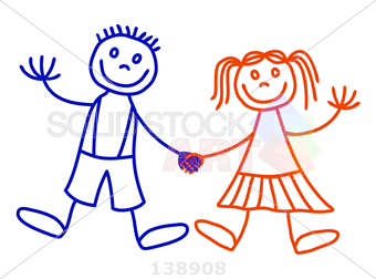340x252 Stock Illustration Of Boy And Girl Vector Line Art Drawing Stick