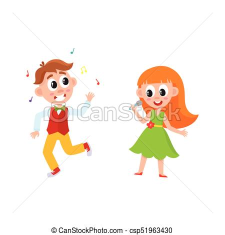 450x470 Vector Flat Boy Girl Dancing And Singing. Vector Flat Cartoon Boy