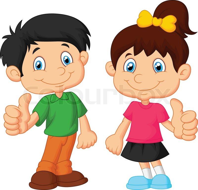 800x767 Vector Illustration Of Cartoon Boy And Girl Giving Thumb Up