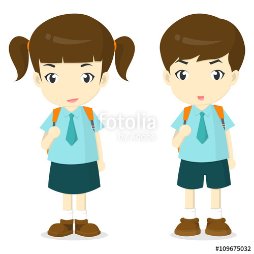 500x500 Boy And Girl In School Uniform Cartoon Vector Illustation Stock