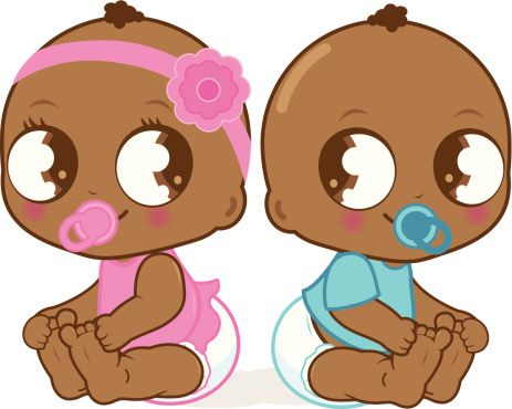 463x370 Cute African American Baby Girl And Boy Vector Art Illustration