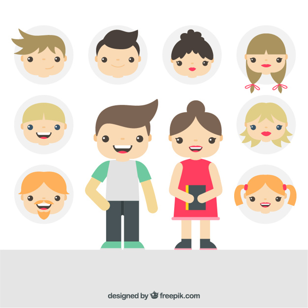 626x626 Girls And Boys Illustration Vector Premium Download