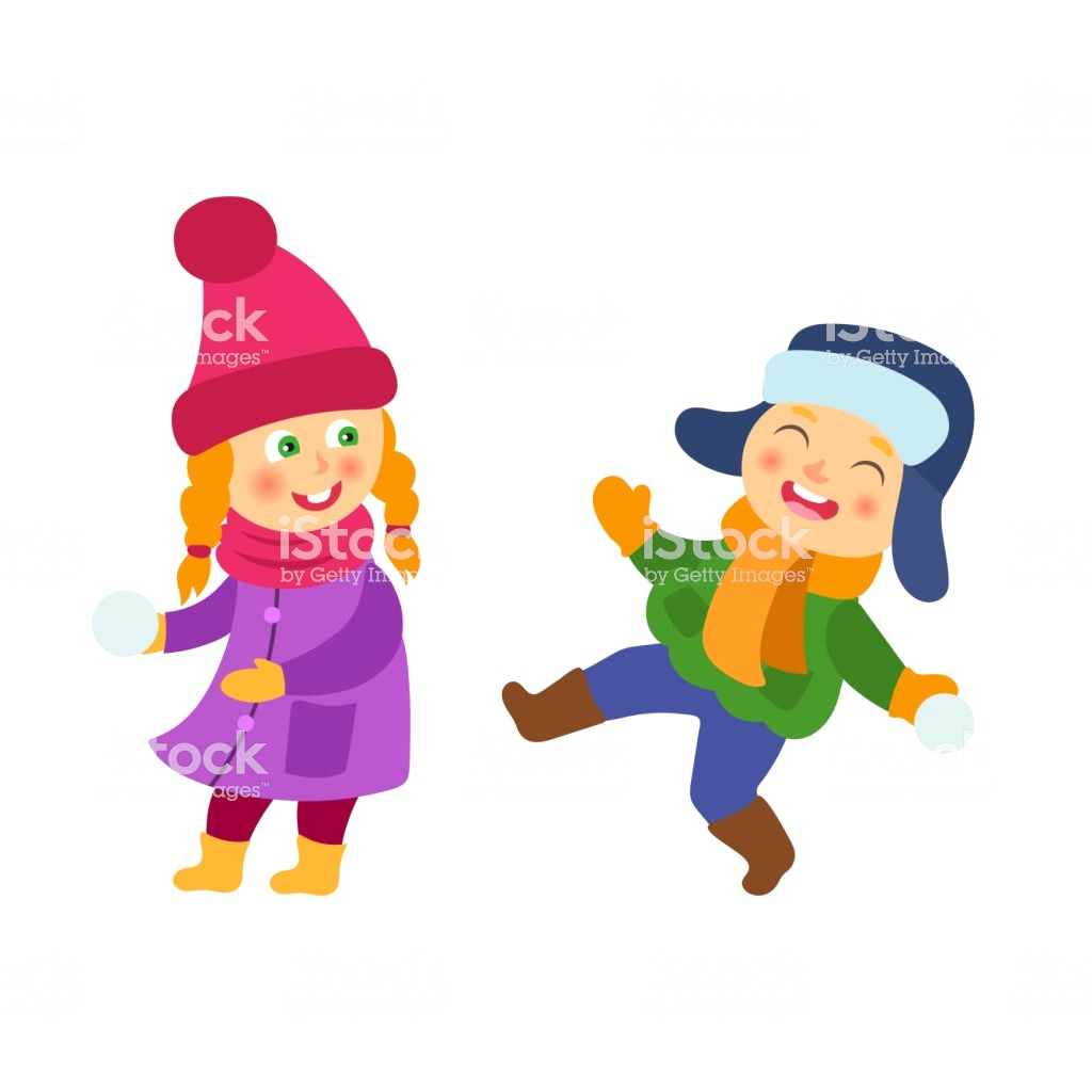 1024x1024 Vector Boy Girl Having Fun With Snoball Isolated Id872538630 K