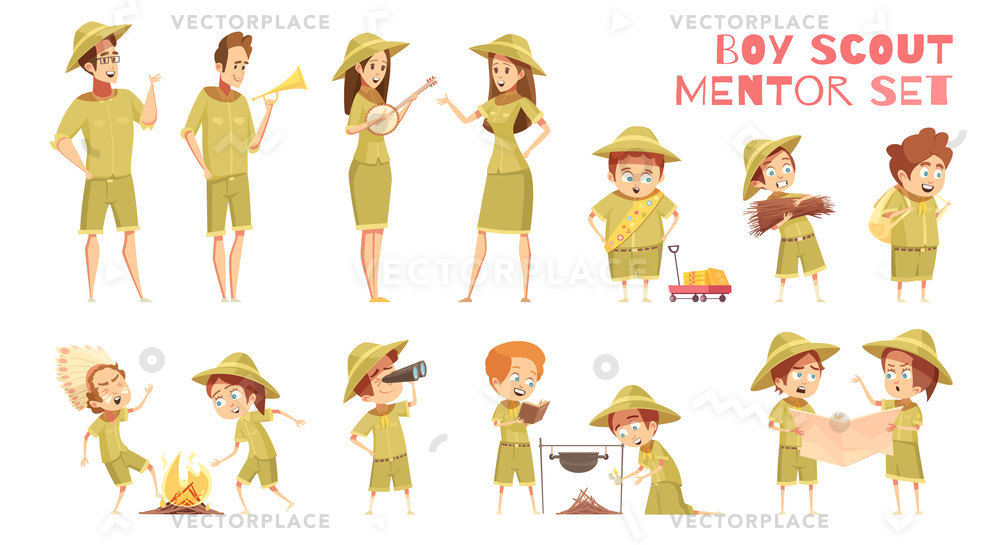 1000x545 Mentors Guiding Boy Scouts Orienteering Map Vector Illustration