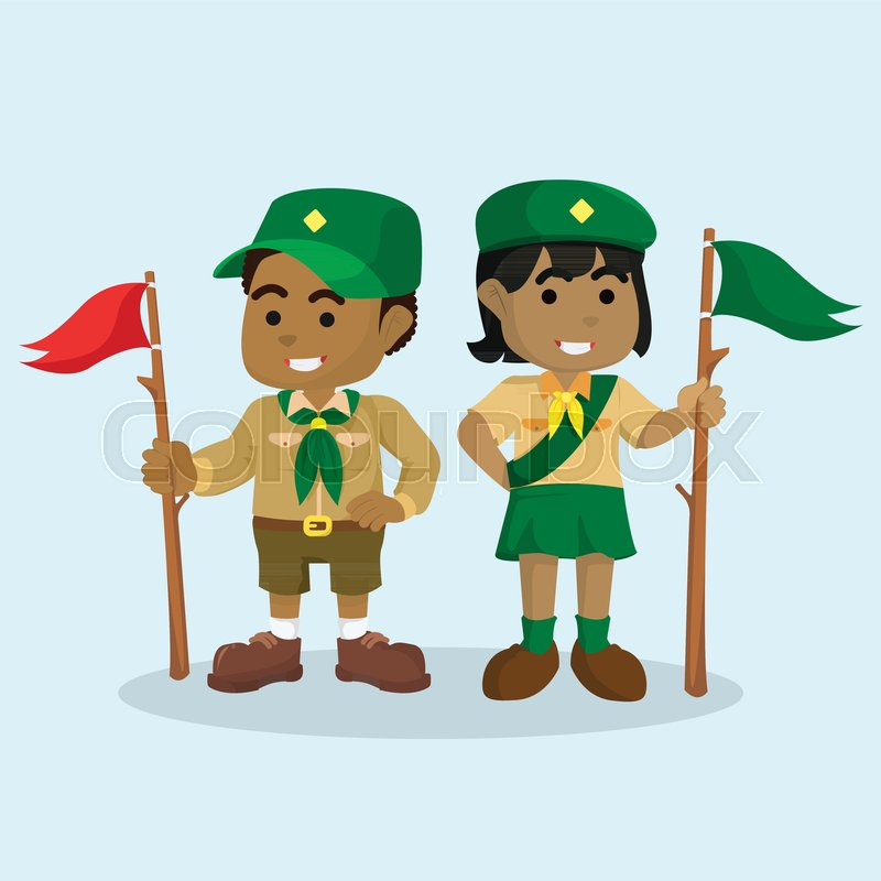 800x800 African Boy Scout And African Girl Scout Stock Vector Colourbox