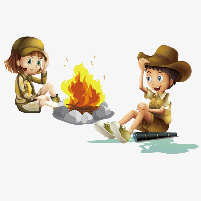 650x651 Vector Camping Bonfire, Boy, Girl, Boy Scout Png And Vector For