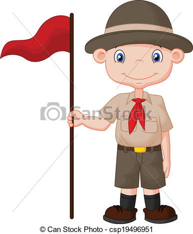 387x470 Vector Illustration Of Cartoon Boy Scout Holding Red Flag.