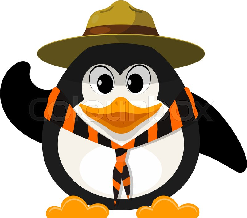 800x705 Young Boy Scout On White Background. Little Penguin Scout With Hat