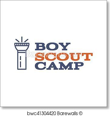 362x382 Art Print Of Boy Scout Camp Logo Design With Typography And Travel