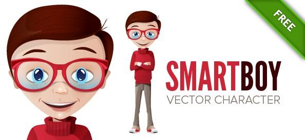 594x274 Smart Boy Vector Character