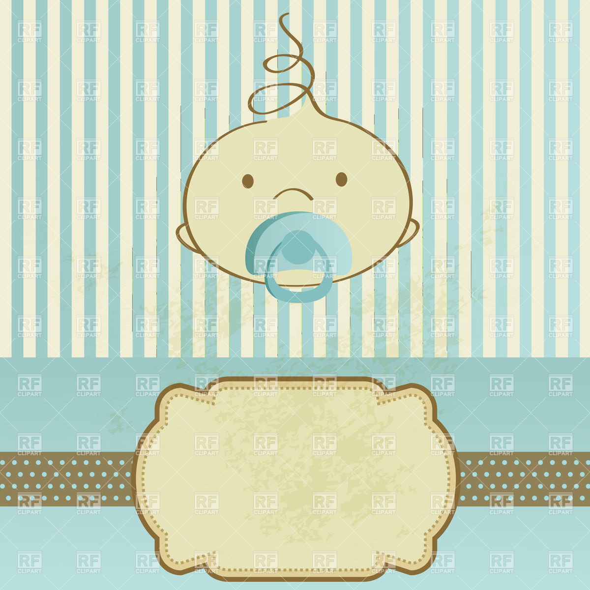1200x1200 Birthday Card With Baby Boy Face With Pacifier Vector Image