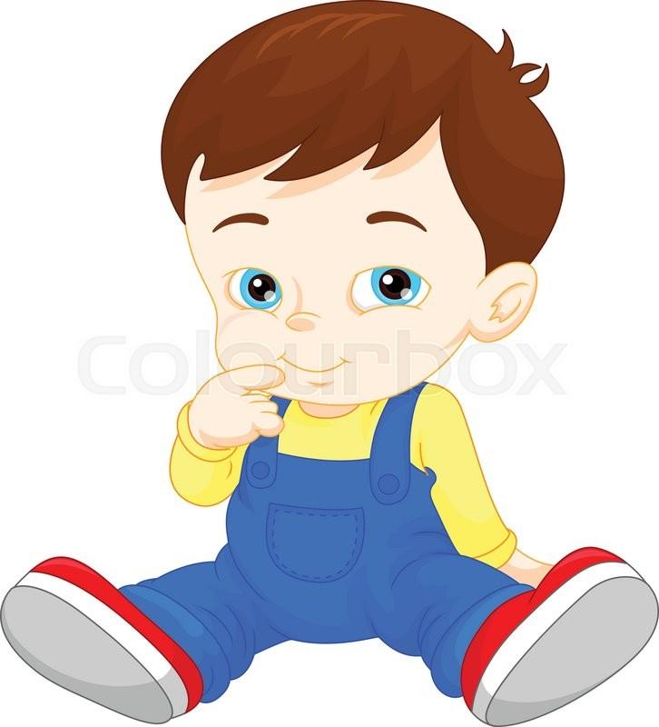 726x800 Vector Illustration Of Cartoon Cute Baby Boy Stock Vector