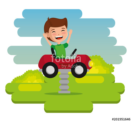 500x462 Park With Kid Zone Scene With Boy Vector Illustration Design