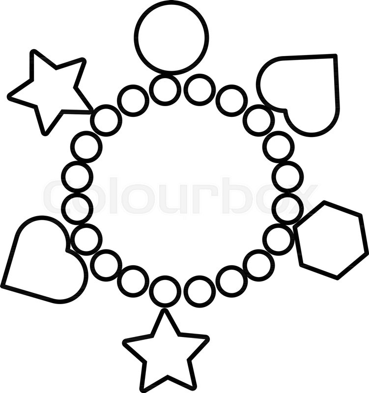 751x800 Charm Bracelet Icon. Outline Illustration Of Charm Bracelet Vector