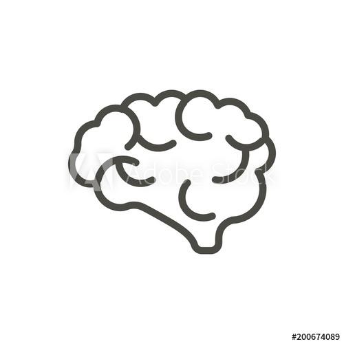 500x500 Brain Icon Vector. Outline Mind. Line Human Brain Symbol.