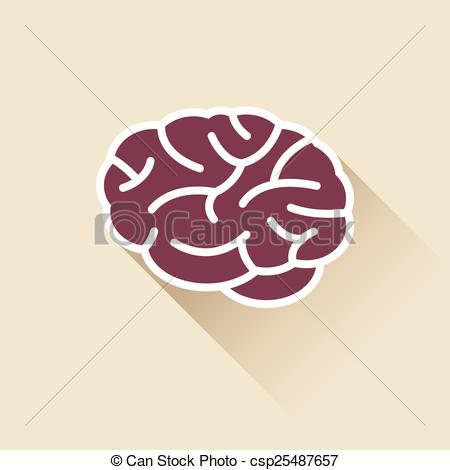 450x470 Simple Brain Icon. Simple Brain Icon With Outline And Shadow.