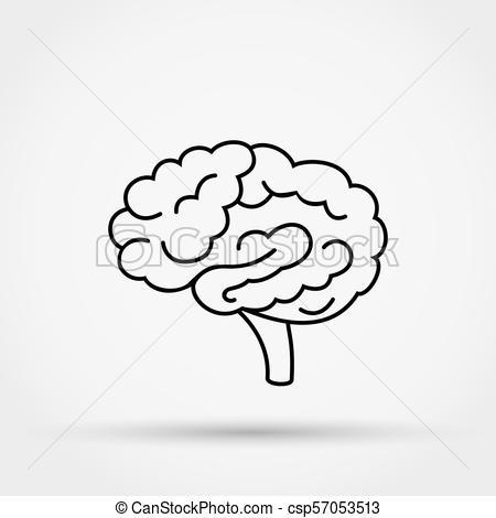 450x470 Brain Vector Icon. Outline Brain Vector Icon.