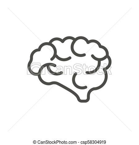 450x470 Brain Icon Vector. Outline Mind. Line Human Brain Symbol. Brain