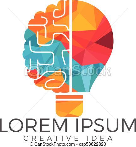 432x470 Bulb And Brain Logo Design. Creative Light Bulb Idea Brain Vector