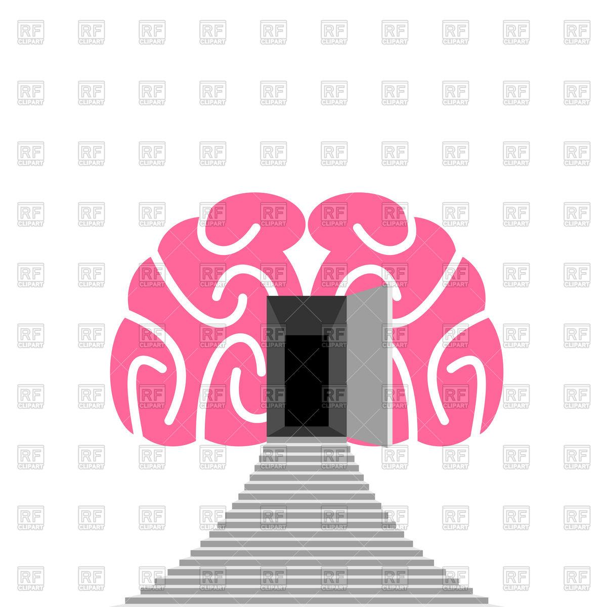 1200x1200 Open Door And Step Of Human Brain Vector Image Vector Artwork Of