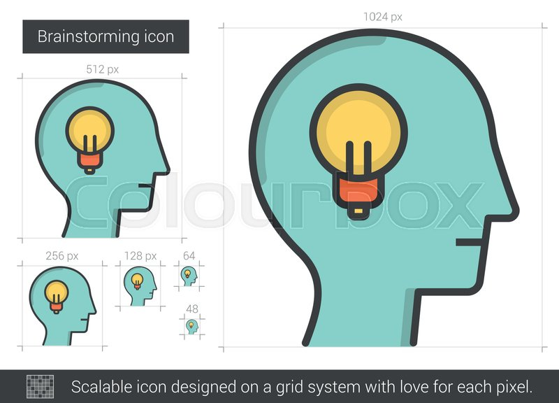 800x576 Brainstorming Vector Line Icon Isolated On White Background