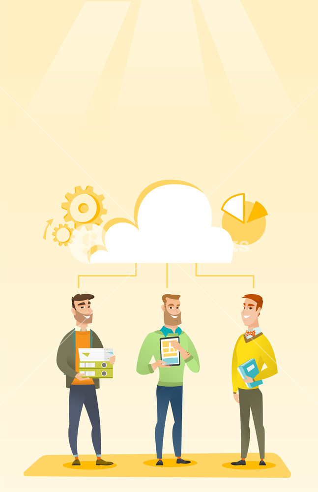 647x1000 Business Team Standing Under Cloud. Caucasian Business Team Using