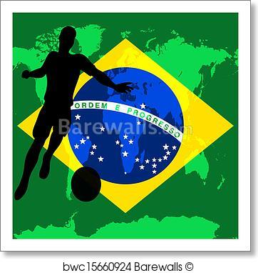 362x382 Art Print Of Brazil 2014, Brazilian Flag Vector Illustration For