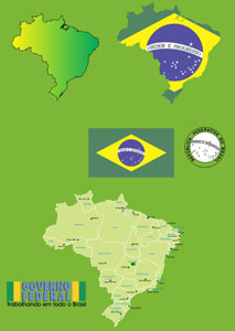 213x300 Brazil Map, Flag Of Brazil, Brazilian States Free Vector Download